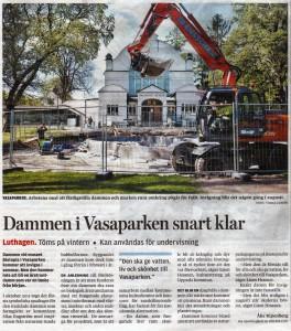 Artikel i Uppsala Nya Tidning om dammen utanför Biotopia